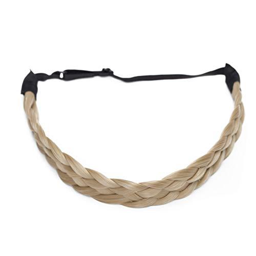 SEGO Diademas Trenzadas Elásticas Mujer Pelo Sintético Se Ve Natural [Rubio Ceniza] Extensiones de Cabello Accesorios Braid Hair Headband (M-2.5cm)