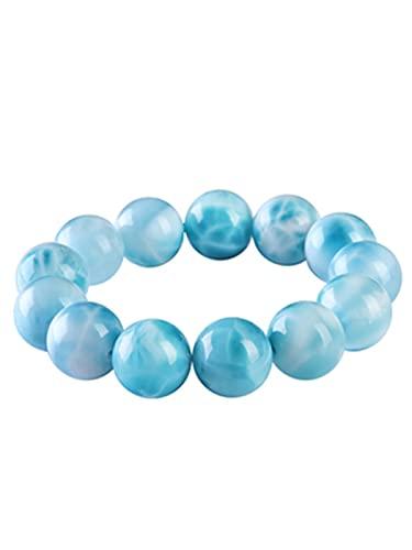 HGVFR Pulsera para mujer con piedra de mar dominicana, color azul marino
