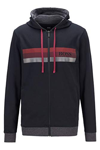 BOSS Herren Authentic Jacket H Kapuzenjacke aus French Terry mit Blockstreifen und Logo-Print