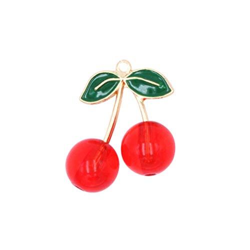 Toyvian - Ciondoli a forma di ciliegia per ciondoli, orecchini, gocce, portachiavi, 10 pezzi (rosso)