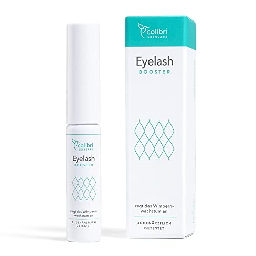 Eyelash Booster Wimpernserum hormonfrei - Längere & vollere Wimpern und Augenbrauen - Mit Koffein & Kurkuma - Frei von Tierversuchen, dermatologisch und augenärztlich getestetes Serum zum Wachstum