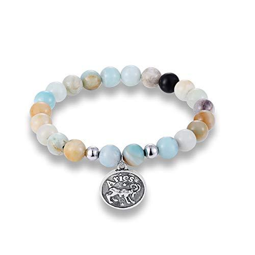 GMZPP 12 Zodiac Tekenen Natuur Kralen Paar Armbanden Vrouwen Vintage Constellatie Horoscoop Mannen Bedel Armbanden Ram