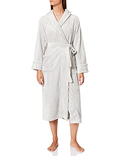 Marca Amazon - IRIS & LILLY Long Plush Dressing Gown Mujer, gris, XL, Label: XL