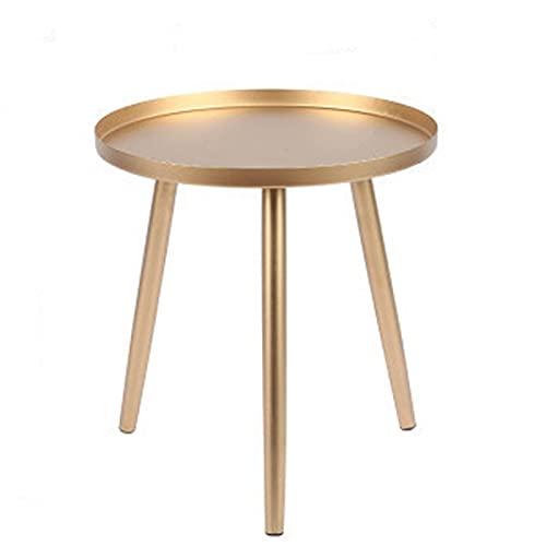 Metall Runder Nachttisch Schmiedeeisen mit Fachkante Schutzdesign Kleine Couchtisch Wohnzimmer Sofa Mini Dreieck Kleiner runder Tisch für Innenwohnzimmer Runder Couchtisch, Outdoor-Produkte