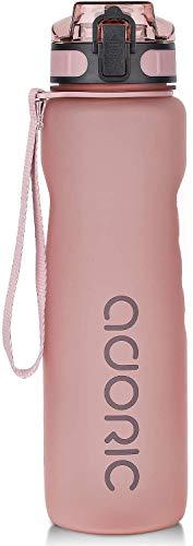 ADORIC Botella Agua Deporte Botella Agua Gimnasio Plastico con Filtro 500ml a 1000ml - No Tóxico sin BPA con Tapa Abatible (Rosa 1000ml)
