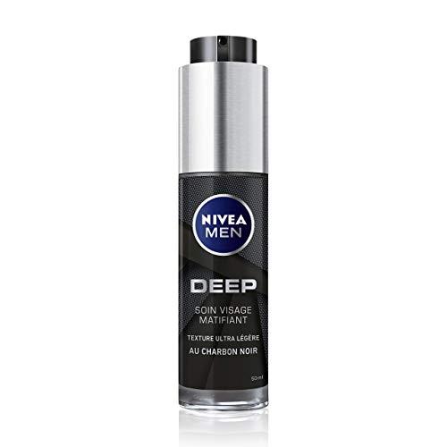 NIVEA MEN Deep Soin Visage Matifiant (1 x 50 ml), Soin 2-en-1 hydratant & matifiant, Soin homme sensation peau fraîche à la texture non-grasse