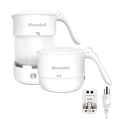 Blamdoil Travel Foldable Electric Kettle,Food Grade Silicone Collapsible Portable Kettle with Universal Adaptor,Fast Water Boiler for Coffee Tea Milk,Dual Voltage 110/220V,US Plug 500ML,Dry Protection