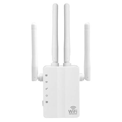Minkissy repetidor Extensor de Rango WiFi 1200 mbps Doble Banda WiFi Punto de Acceso inalámbrico Amplificador Amplificador de señal (Blanco)