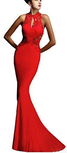 Beautisun Abendkleid Damen Partykleid Elegant Lace Rückenfrei Maxi Lang Satin Träger Fishtail Kleid Abendkleid Cocktailkleid Evening Dress Brautkleider