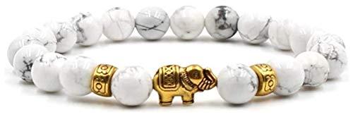 Pulsera de piedra Mujer, 7 chakra piedras naturales perlas dolomita brazalete elástico elástico elefante animal joyería animal blanco yoga pulseras esencial aceite difusor hombre regalo Pulsera de pie