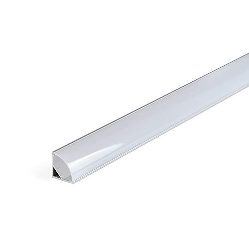 Perfil de aluminio 1616 angular 90º 1 metro para tiras Led con tapa blanca (Blanco, 1616 angular)