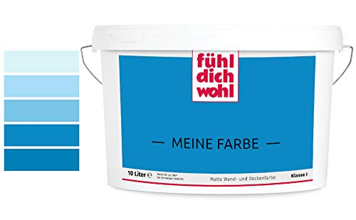 Fühl Dich Wohl Meine Farbe blau, matte Wandfarbe blau, hohe Deckkraft. verschiedene Blautöne zur Auswahl (2,5L, Dunkelblau E14-4)