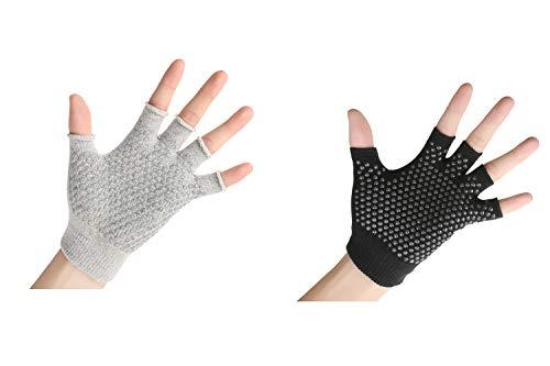 YL TRD V 2 Packs of Non Slip Fingerless Yoga Gloves Exercise Gloves Workout Gloves (Black&Grey with Black dots)