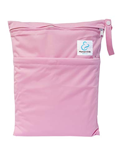 Maman et bb Nature - Sac imperméable pour couches lavables 2 poches anse à pression - Rose