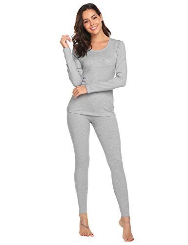 Skiunterwäsche Damen Thermounterwäsche Baumwolle Thermo Unterwäsche Lange Warm Weich Rundhals Blickdicht Schlafanzug Pyjama Set