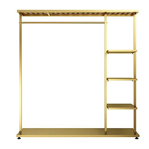 Riel para Ropa Resistente, Estante de ExhibicióN de Ropa con 5 Estantes, Perchero Multifuncional para el Dormitorio, Perchero de Metal/dorado / 100×40×160cm