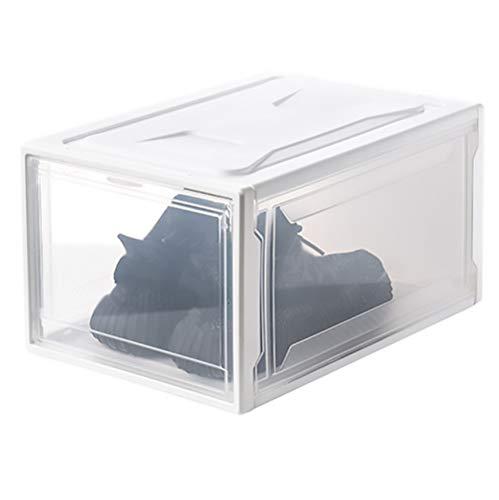 SSDM Caja De Zapatos, Organizador De Zapatos Apilable con Puerta Transparente para Colección De Zapatillas, Contenedor De Plástico para Almacenamiento De Zapatos, Grande,Blanco,2Pcs