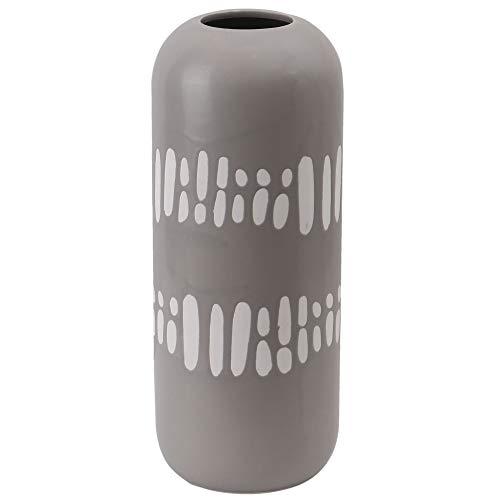 TERESA'S COLLECTIONS bloemenvaas 38cm Grijze grote keramische vaas met witte vlek decoratie ontwerp voor woonkamer, kantoor en bruiloft of als een kerstcadeau