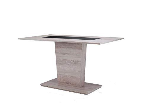 HOMEXPERTS, Esszimmertisch VENGA,  Moderner Esstisch 140 cm, Küchentisch aus Melamin in schwarz oder weiß, Säulentisch in Melamin Sonoma Eiche, B 140, T 70, H 75cm