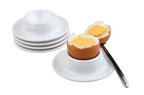 APS Eierbecher, 4er Set, Eierhalter, stapelbarer Eierbecher aus Melamin, Eierbecher weiß, Ø 8,5 cm, 4 cm Höhe