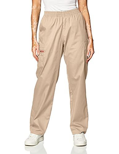 Dickies Women's Signature Elastic Waist Scrubs Pant, Khaki, Medium