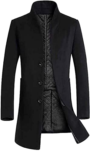 Men's Winter Business Trench Coat Long Wool Blend Slim Fit Jacket Overcoat