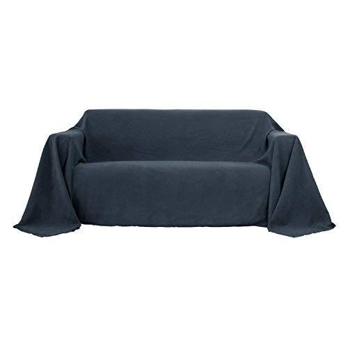 Deconovo Sofa Überwurf Bettüberwurf Sesselbezug Tagesdecke Wildleder Optik 210x280 cm Anthrazit
