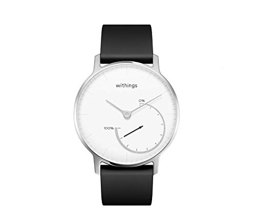 Withings Unisex Adult Nokia Steel - Fitnessuhr Armbanduhr Black-White, Weiß, 36 mm