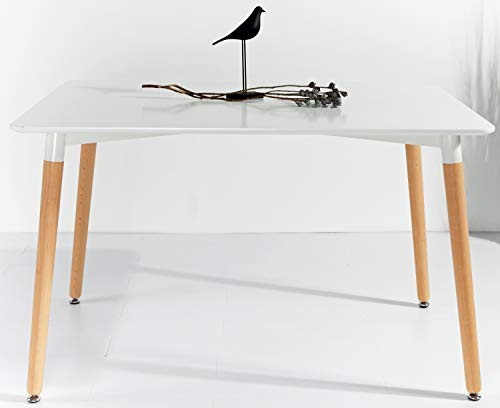 KOSMI - Tavolo bianco scandinavo 6 persone 120 x 80 cm, tavolo rettangolare