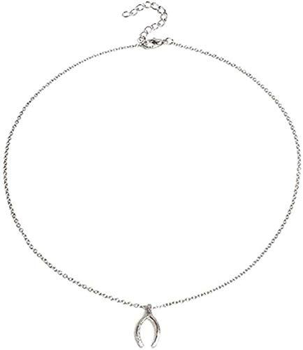 Collares Mujeres Hombres Collar de personalidad deseos collar de cadena larga de hueso colgante collar de encanto de clavícula de metal joyería de cuello femenino tamaño 41 + 5 cm collar pendiente