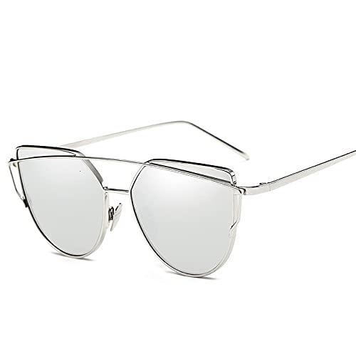 ShSnnwrl Gafas De Moda Gafas De Sol Gafas De Sol De Ojo De Gato Sexis para Mujer, Gafas De Sol Reflectantes Coloridas De Metal De Diseñador para Mujer, R