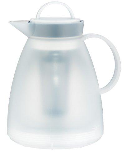 alfi Thermoskanne Dan Tea, Isolierkanne Kunststoff transluzent weiß 1,0 l, Teekanne mit Siebeinsatz hält 3 Stunden heiß o. 6 Stunden kalt, Tee Kanne mit durchsichtigem Isolierglas - 1935.011.100