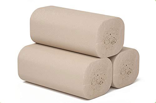 4-laags Verdikt Zacht Bamboepulp Natuurlijke Kleur Rolpapier Kernloos Betaalbaar Huishoudelijk Toiletpapier Toiletpapier (20 Rollen) - Originele Ecologische Kleur