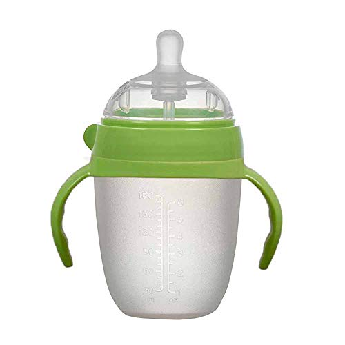 Read About Mikeson Green Bottle with Handle Silicone Bottle Infant Super Large Wide Caliber Anti-Fla...