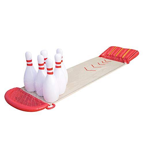 Bestway 52213 - Scivolo H20 Go Bowling  con Rampa di Lancio e Sei Birilli Giganti Gonfiabili, Collegabile alla Canna del Giardino