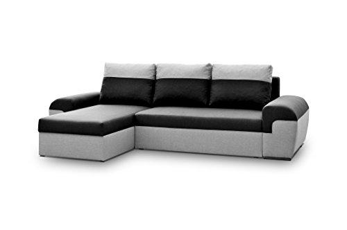 Avanti Trendstore–Marebbe–Sofá esquinero de microfibra gris/antracita, con función cama y cajón, aprox. 264x 87x 147cm.