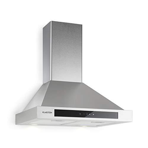 Klarstein Zelda Eco – extractor de humos, A+, 410 m³/h, extracción y ventilación, montaje en la pared, 240 W, 3 niveles de potencia, iluminación LED, control táctil, 60 cm, plateado
