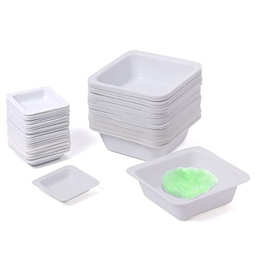 Young4us 7ml 100ml Weigh Boat Set, 100 Pack Small & Large Lab Weighing Dishes for Measuring, Storing, Mixing Powders & Liquids with Easy Pour Design Disposable Mini Plastic Square Dish Scale Tray