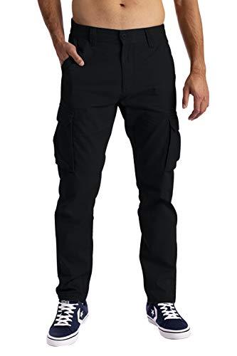 Herren Cargo Hose 6 Taschen 100% Baumwolle Freizeithose Loose Fit Arbeitshose (34W / 30L, Schwarz)