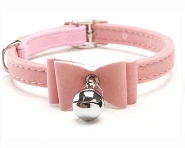 Mcitymall77 Collare Elastico di Sicurezza per Gattino, con Papillon in Velluto e Campanellino, Disponibile in 6 Colori