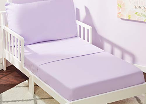 EVERYDAY KIDS 3 Piece Toddler Sheet Set – Soft Microfiber, Breathable and Hypoallergenic Toddler Bedding – Includes a Flat Sheet, a Fitted Sheet and a Pillowcase – Solid Purple