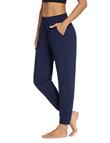 Sarin Mathews Womens Active Joggers Pants Yoga Sweatpants Running Workout Lounge Pants for Women with Pockets Navy XL