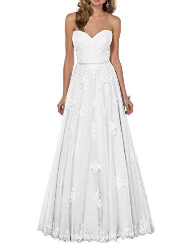 HUINI Brautkleid Tüll Lang Hochzeitskleid Prinzessin Spitze Standesamtkleid Schlicht Brautmode Kleid Rückenfrei Weiß 36