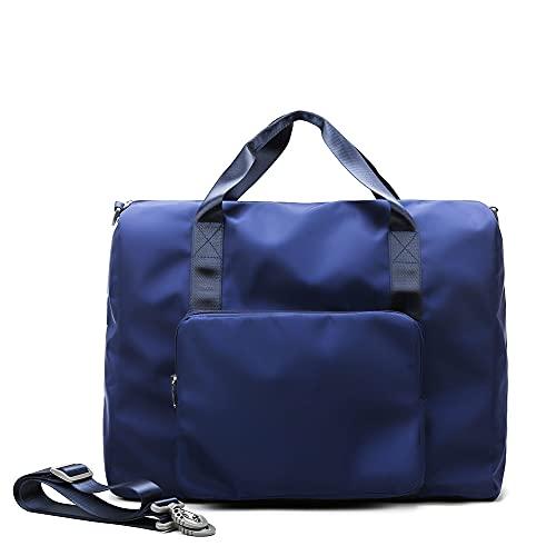 LYEAA - Borsone da donna, da uomo, pieghevole, per il fine settimana, per sport, palestra, allenamento, borsa a tracolla per fitness, yoga, nuoto, vacanze, colore: blu navy