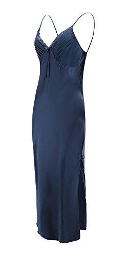 EPLAZA Women Plain Satin Chemise Long Slip Night Dress Gown Sleepwear Loungewear (X-Large, navy)