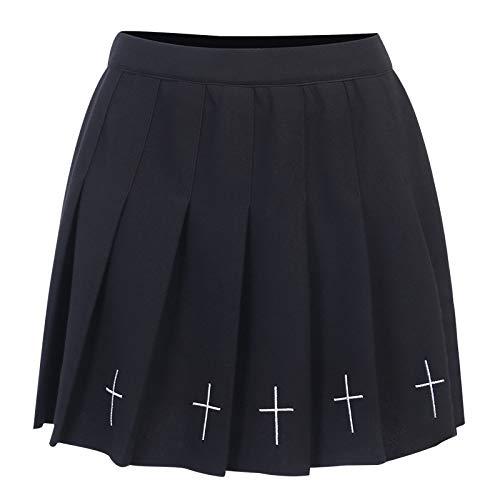 Falda plisada para mujer E-Girl Harajuku gótica de cintura alta mini faldas punk oscuro Academia estética una línea de falda Y2K Streetwear, Negro, S