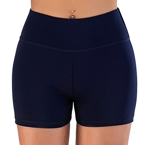 Pantalones cortos de yoga para mujer, de moda, cómodos, transpirables, para correr, Azul marino/flor y brillo, M