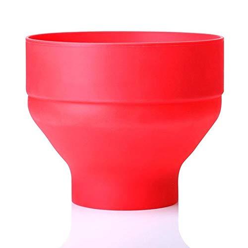 Appearanice Tazón de Palomitas de maíz de Silicona Cubo de Palomitas de maíz doblado Horno de microondas Cubo de Silicona Cubierto Grande Resistente a Altas temperaturas Creativo Rojo