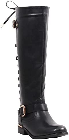 Wanted Shoes Women's Lounge Knee High Riding Boot with Decorative Lace-Up Back
