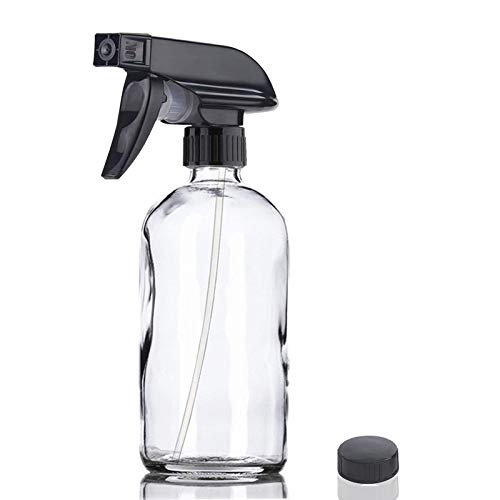 Glass Spray Bottle, Niuta 16 OZ Clear Glass Empty Spray Bottles with Labels for Plants, Pets, Essential Oils, Cleaning Products - Black Trigger Sprayer w/Mist and Stream Settings